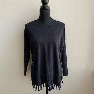 Lilly Pulitzer Black Ramona Fringe Sweater S